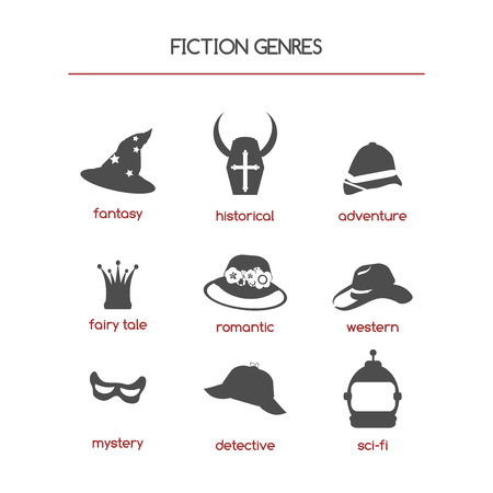 genre: Set of fiction genre icons. Features fantasy, historical, romantic fiction, adventure and other