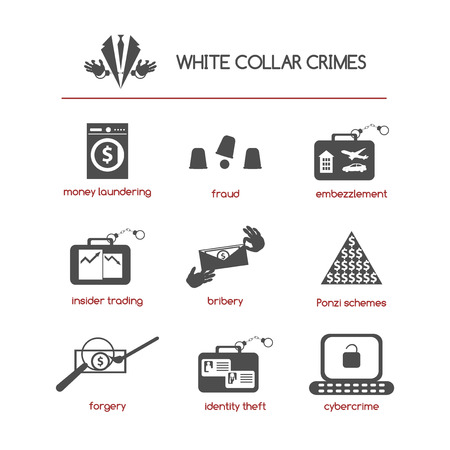 Set of white collar crime icons featuring such concepts as fraud, bribery, Ponzi schemes, insider trading, embezzlement, cybercrime, money laundering, identity theft, and forgery. Illustration