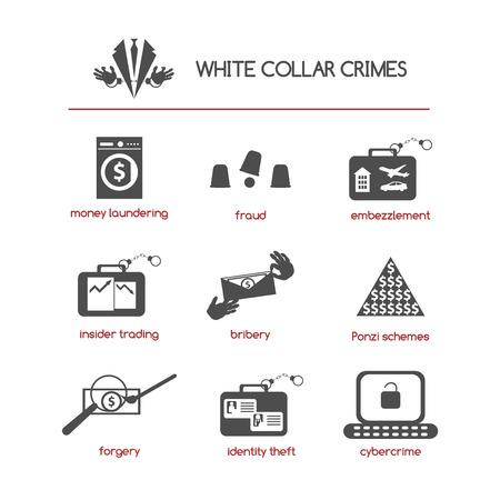 Set van witteboordencriminaliteit iconen met begrippen als fraude, omkoping, Ponzi schema, handel met voorkennis, verduistering, computercriminaliteit, witwassen van geld, diefstal van identiteit, en valsheid in geschrifte.