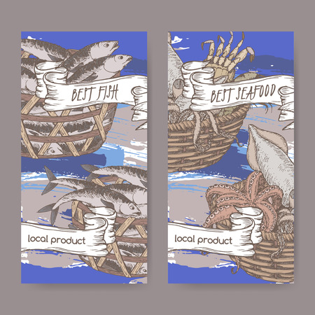 hand baskets: Set of two labels with, color fish and seafood baskets on hand painted blue background. Great for markets, fishing, fish processing, canned fish, seafood product label design. Illustration