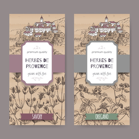 herbes: Two Herbes de Provence labels with Provence town landscape, savory and oregano sketch. Culinary herbs collection. Great for cooking, medical, gardening design.