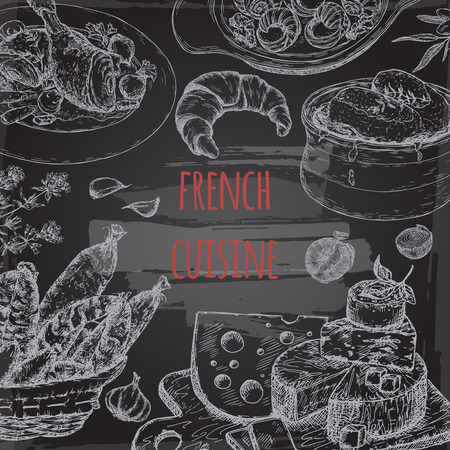 french cuisine: French cuisine template on blackboard background. Includes onion soup, coq au vin, croissant, cheese plate, sausages, escargots. Great for restaurants, cafes, recipe and travel books.