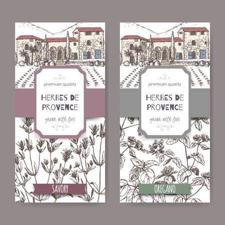 herbes: Two Herbes de Provence labels with mansion landscape, savory and oregano sketch. Culinary herbs collection. Great for cooking, medical, gardening design. Illustration