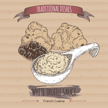 french cuisine: Color white truffle sauce sketch placed on cardboard background. French cuisine. Traditional dishes series. Great for restaurant, cafe, grocery stores, organic shops, food label design.