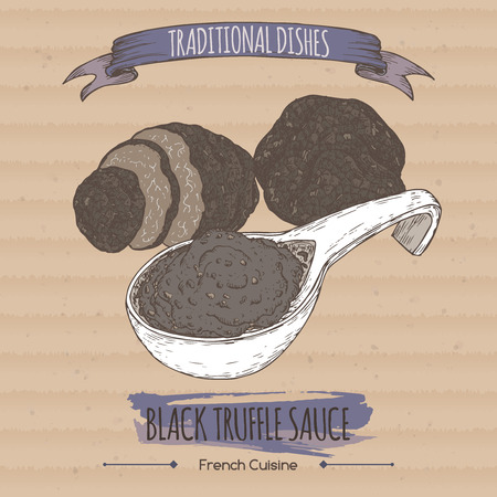 french cuisine: Color black truffle sauce sketch placed on cardboard background. French cuisine. Traditional dishes series. Great for restaurant, cafe, grocery stores, organic shops, food label design.