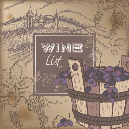 wooden bucket: Color wine list template with castle, vineyard and grapes in wooden bucket on vintage background. Great for restaurants, cafes, bars, markets, grocery stores, organic shops, food label design.