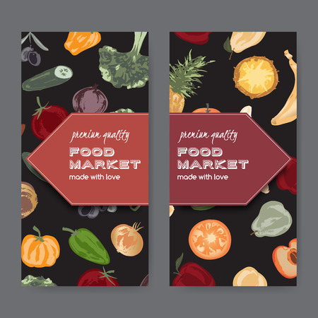 grocer: Set of two food market label templates with hand painted fruits and vegetables. Great for store and packaging design.