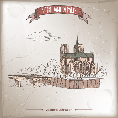 notre dame de paris: Vintage travel illustration with Notre Dame de Paris Cathedral and Archbishop Bridge over Seine.