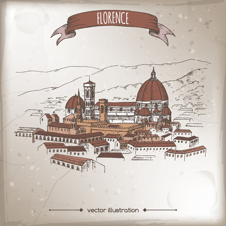 florence: Vintage travel illustration with Florence Cathedral of Saint Mary of the Flower and city landscape.
