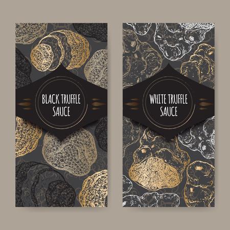 Ensemble de deux étiquettes élégantes pour sauce à la truffe blanche et noire placés sur dentelle noire fond. Idéal pour restaurant, café, marchés, épiceries, magasins bio, la conception des étiquettes des aliments.