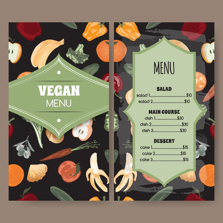 grocer: Vegan menu template with painted fruits and vegetables. Great for cafe, restaurant design.