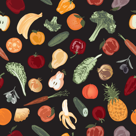 grocer: Seamless pattern with hand painted fruits and vegetables. Great for store and packaging design.