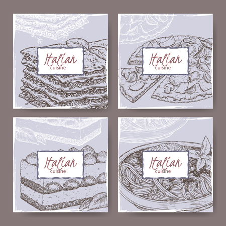 bolognese: Set of four Italian cuisine banner templates. Includes hand drawn sketch of pizza, lasagna, tiramisu, spaghetti. Great for restaurants, cafes, recipe and travel books.