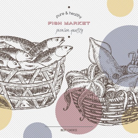 mackerel: Fish market template with fish and seafood baskets. Great for markets, fishing, fish processing, canned fish, seafood product label design.