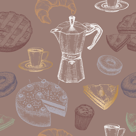 bakery store: Hand drawn coffee and dessert color seamless pattern. Great for bakery, restaurant, store and cafe design.