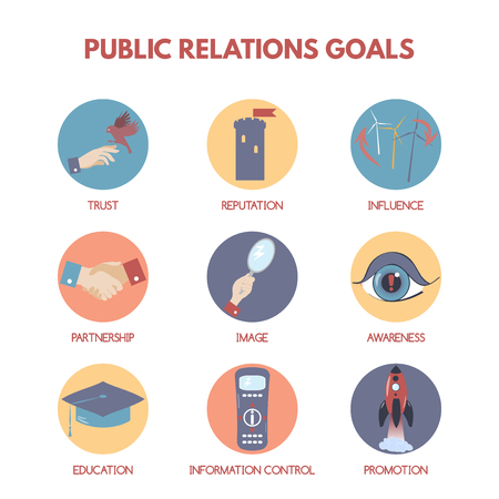 public relations: Modern flat style infographic on public relations goals and objectives.