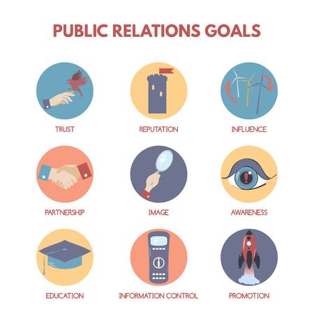 relaciones publicas: Moderna infografía estilo plano en las metas y objetivos de las relaciones públicas.