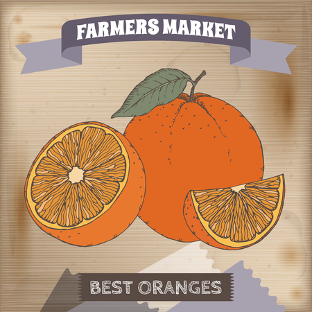 farmer market: Farmer market label with fresh oranges color sketch. Placed on original wooden texture. Includes hand drawn elements. Illustration
