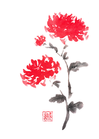 Two red chrysanthemums Japanese style original sumi-e ink painting. Hieroglyph featured means sincerity. Great for greeting cards or texture design.