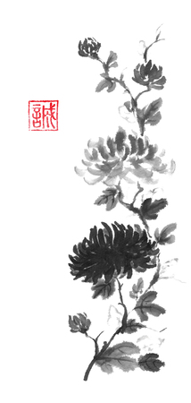 Japanese style original sumi-e dark and light chrysanthemum flower ink painting. Designed as traditional scroll. Hieroglyph featured means sincerity. Great for greeting cards or texture design. Foto de archivo