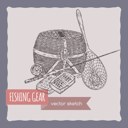 tackle box: Fishing gear hand drawn sketch. Great for travel ads and brochures, fishing and vacation illustrations. Illustration