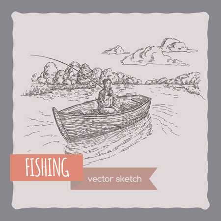 fishing village: Fisherman in a boat sketch. Great for travel ads and brochures, fishing and vacation illustrations.