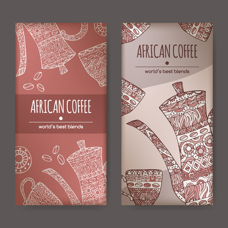 great coffee: Set of two labels with original African coffee design featuring coffee pot and cups decorated with hand drawn ethnic pattern. Great for cafe, bars, coffee ads.