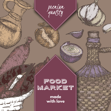 grocer: Color food market label template with hand drawn sketch of sausages, wine bottle, oil pitcher, garlic and onions. Great for store and packaging design.