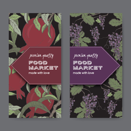 black grape: Set of two food market label templates with grape and pomegranate color sketch on black background. Includes hand drawn elements.