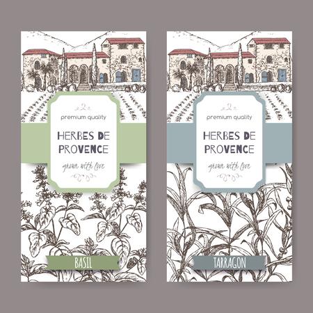 Dwa zioła prowansalskie etykiety z Prowansji dwór krajobraz, bazylią i estragonem szkic na białym tle. zbieranie ziół. Świetna do gotowania, medycznym, projektowaniem ogrodniczej.