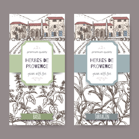 herbes: Two Herbes de Provence labels with Provence mansion landscape, basil and tarragon sketch on white. Culinary herbs collection. Great for cooking, medical, gardening design. Illustration