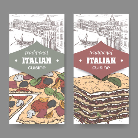 lasagna: Set of two traditional Italian cuisine labels with Venice landscape, color pizza and lasagna on white. Great for pizzeria, bakery and restaurant, cafe ads, brochures, labels.