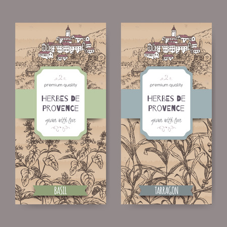 herbes: Two Herbes de Provence labels with Provence town landscape, basil and tarragon sketch on cardboard background. Culinary herbs collection. Great for cooking, medical, gardening design.