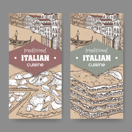 lasagna: Set of two traditional Italian cuisine labels with Venice landscape, pizza and lasagna on cardboard background. Great for pizzeria, bakery and restaurant, cafe ads, brochures, labels. Illustration