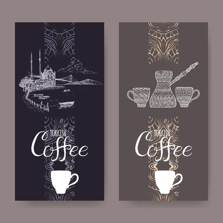 great coffee: Set of two Turkish coffee labels with Istanbul landscape and ethnic coffee pot and cups. Great for cafe, restaurant, travel and cafe ads, brochures, labels.