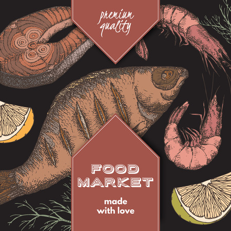 fish steak: Food market label template with hand drawn color sketch of grilled fish, fish steak and shrimps on black background. Great for store and packaging design.