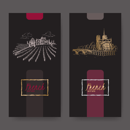 french wine: Set of two French wine labels with Paris landscape and vineyard. Great for cafe, restaurant, travel and cafe ads, brochures, labels.