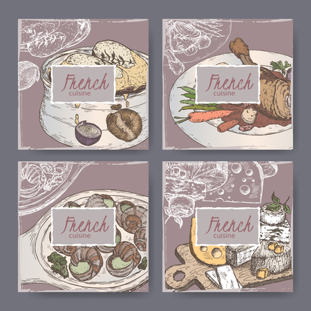 french cuisine: Set of four French cuisine banner templates. Includes color hand drawn sketch of onion soup, coq au vin, cheese plate, escargots. Great for restaurants, cafes, recipe and travel books. Illustration