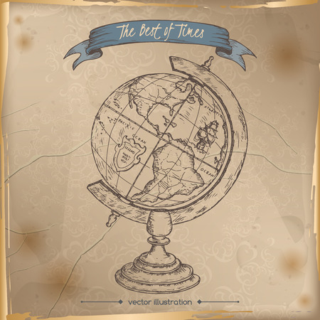 Antique globe hand drawn sketch placed on old paper background. Vintage collection. Great for school, education, book shop, retro design. Illustration