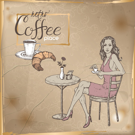 great coffee: Retro template with girl sitting in a street cafe, cup of coffee and croissant hand drawn sketch. Placed on old paper background. Great for coffee, restaurant, cafe ads, brochures, labels.