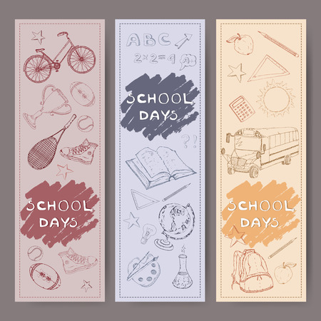 retort: Three banners with school related hand drawn sketches. Features school bus, backpack, apple, sports equipment, stationery and more. Vector Illustration.