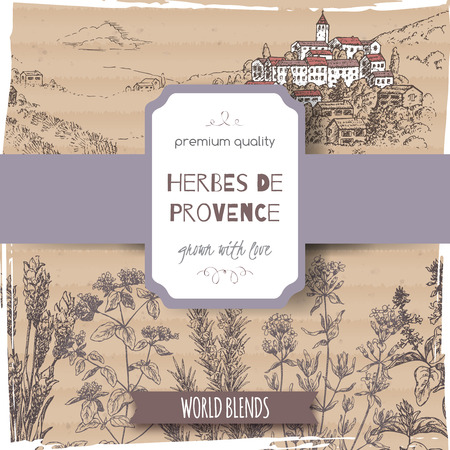 Herbes de Provence label with Provence town landscape, lavender, oregano, rosemary, thyme, basil sketch placed on cardboard background. Great for cooking, medical, gardening design.