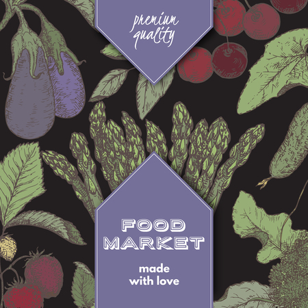 grocer: Food market label template with hand drawn color sketch of berries and vegetables on black background. Great for store and packaging design.