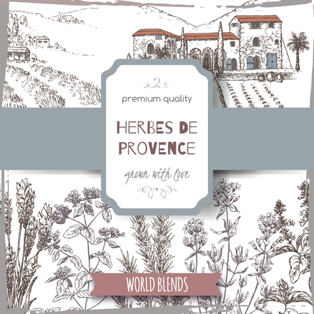 Herbes de Provence label with Provence cottage landscape, lavender, oregano, rosemary, thyme, basil sketch on white background. Culinary herbs collection. Great for cooking, medical, gardening design.