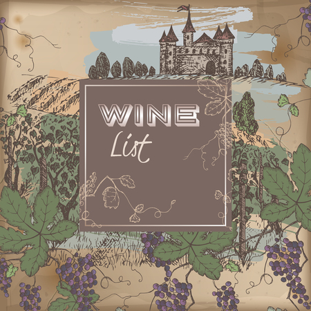 grapevine: Color wine list template with castle, vineyard and grapevine on vintage background. Great for restaurants, cafes, bars, markets, grocery stores, organic shops, food label design. Illustration