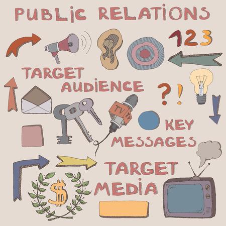 relaciones publicas: la mano del color de esbozo de los signos y símbolos de relaciones públicas. Se puede utilizar como iconos o ilustraciones para amenizar su presentación. Características del público objetivo, mensajes clave, se dirigen a los medios de comunicación. Vectores