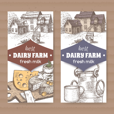 drawn metal: Set of two color dairy farm shop labels with farmhouse, cheese, metal milk jug and cup on white background. Placed on cardboard texture. Includes hand drawn elements.