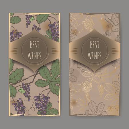 grapevine: Set of two wine label templates with color grapevine pattern on vintage background. Great for wineries, grocery stores, wine label design.