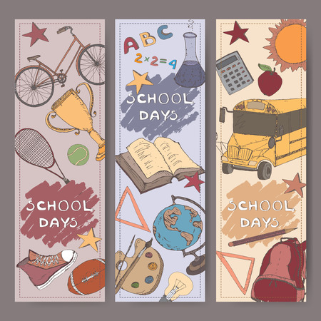 retort: Three vertical banners with school related color sketches. Features school bus, backpack, apple, stationery and more. Vector Illustration. Illustration