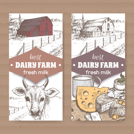 cows red barn: Set of two color dairy farm shop labels with red barn, cow, cheese, metal milk and cup on white background. Placed on cardboard texture. Includes hand drawn elements.